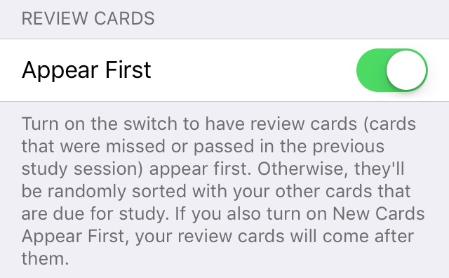 review cards setting