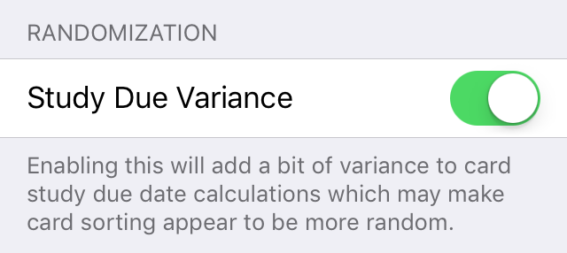 study due variance setting
